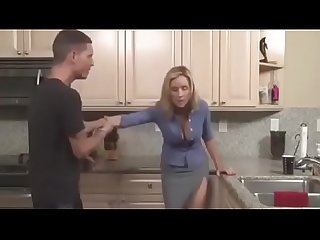 s. fucks blonde milf mom eating her pussy in the kitchen - PornoGozo.com