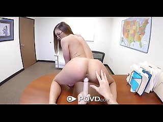 Povd moka mora interviews for secretary position and leaves with a facial