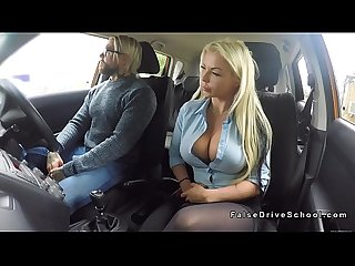 Tattooed driving student bangs busty blonde