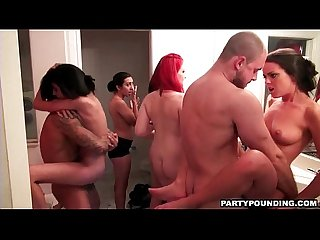 Group of hot coeds share two dicks