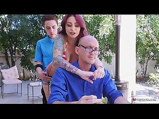 Misbehaving Bored Monique Alexander and Adria Rae find BBQ Cock