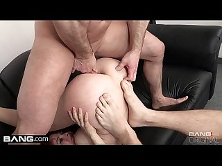 Fast anal pounding while she sucks his friends cock