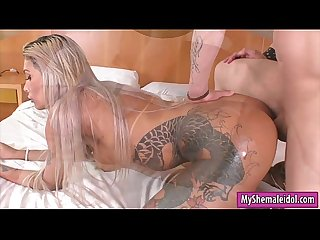 Big tits tattooed shemale anal pounded in different poses