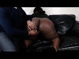 Big black booty bbw cumming for an interview