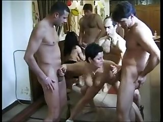 Amateur straight russian orgy in a bowling alley