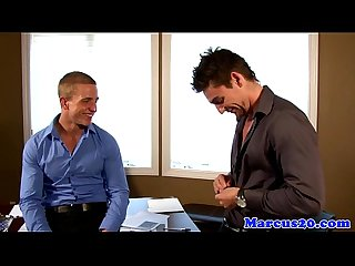 Muscular hunks assfucking in office