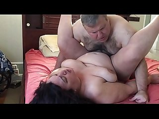 Fucking my BBW wife with legs up for me and doggy with her big tits bouncing