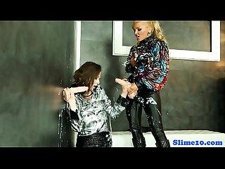 Bukkake femdom uses strapon on euro lesbian