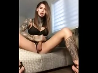 Hot tattooed Canadian shemale solo