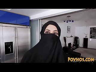 Muslim busty slut pov sucking and riding cock in burka