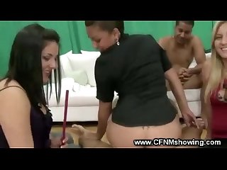 Dirty slut sits on his hard cock in front of group