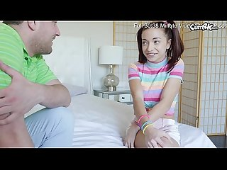 Innocent Teen with blue eyes in pigtails takes a big creampie from her step-brother who is..