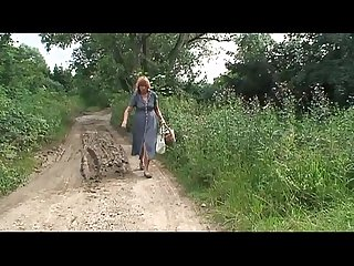 Blonde mature farm woman attacked and abused in the wood