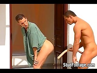 Watch to hot guys get dirty on stairs