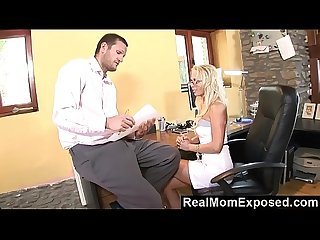 Realmomexposed milf neglects her job but certainly not the boss S cock