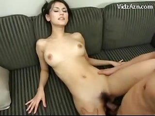 Girl getting her pussy fucked cum to tits on the armchair