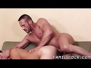 Barebacked stepson begging for daddys big cock and hot cum