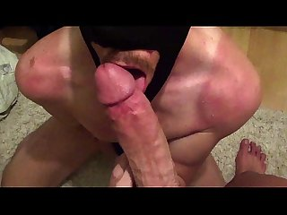 Sucking Mr. Big's huge cock