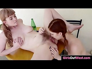 Busty hairy Laney loves cunnilingus and rimjob