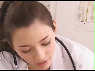 A beautiful japanese doctor gives a handjob (What is the name of this actress?)
