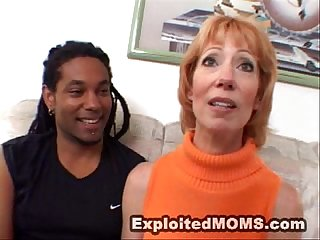 Sexy older moms loves fucking big black cock in interracial video