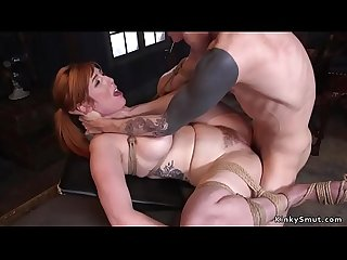 Huge tits redhead fucked at slave training