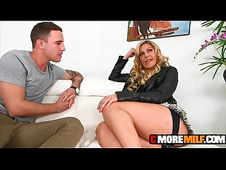 Hot MILF Cec milks studs penis for cum but first she uses him well