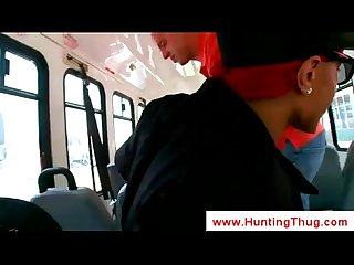 Skinhead sucks a black dick at the bus