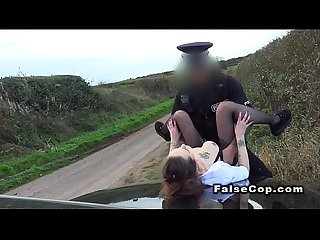 Brunette amateur bangs cop on the bonnet