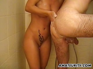 Busty amateur mom action in the shower
