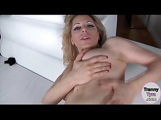 Busty blonde shemale Tyra Scott gets her asshole screwed