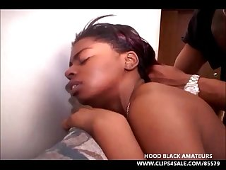 Ebony whore deep throat 2 black cocks and gets huge creampie finish