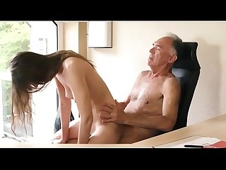 Young Teen makes her old boss to cum in her pussy
