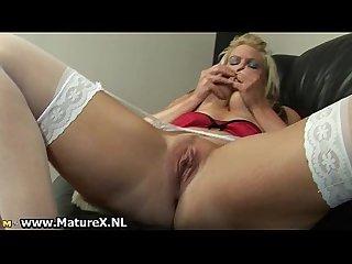 Blonde mature mom with big