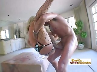 Busty blonde anal mom getting her asshole filled with jizz