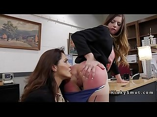 Brunette slave anal fisted in office