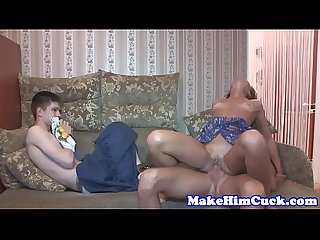 Lovely euro babe cuckolds her restrained bf