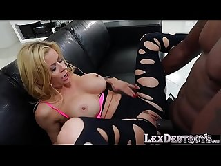 Milf and blonde Alexis fawx auditions to lex and rides his bbc