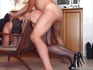 Fishnets comma high heels and wild banging