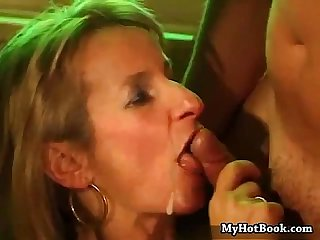 Mature broad is a cum junkie