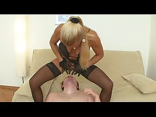 Tough mistress having fun with her boy toy and getting satisfied
