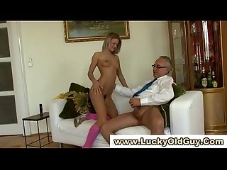 Young girl in stockings fucking old guy