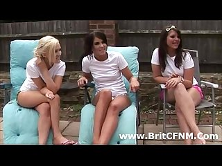 Three bad british cfnm girls strip guy and play with him