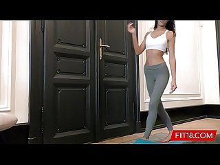 Fit and Skinny Cayenne Hot's First Hardcore Scene as Yoga Instructor