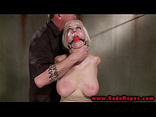 Bound and gagged bdsm whore whipped by her master