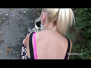 Fake agent fucking gal outdoors