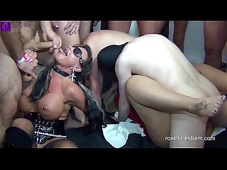 Two busty milfs get extremely inseminated and bareback fucked by 120 men! Part 1