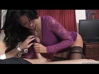 Brunette milf jerking a boner
