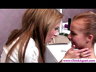 Lesbo casting director gets oral by babe