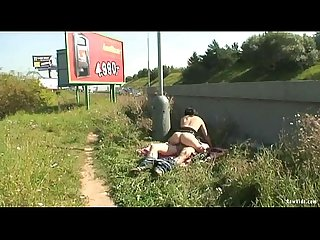 Naughty couple public sex roadside